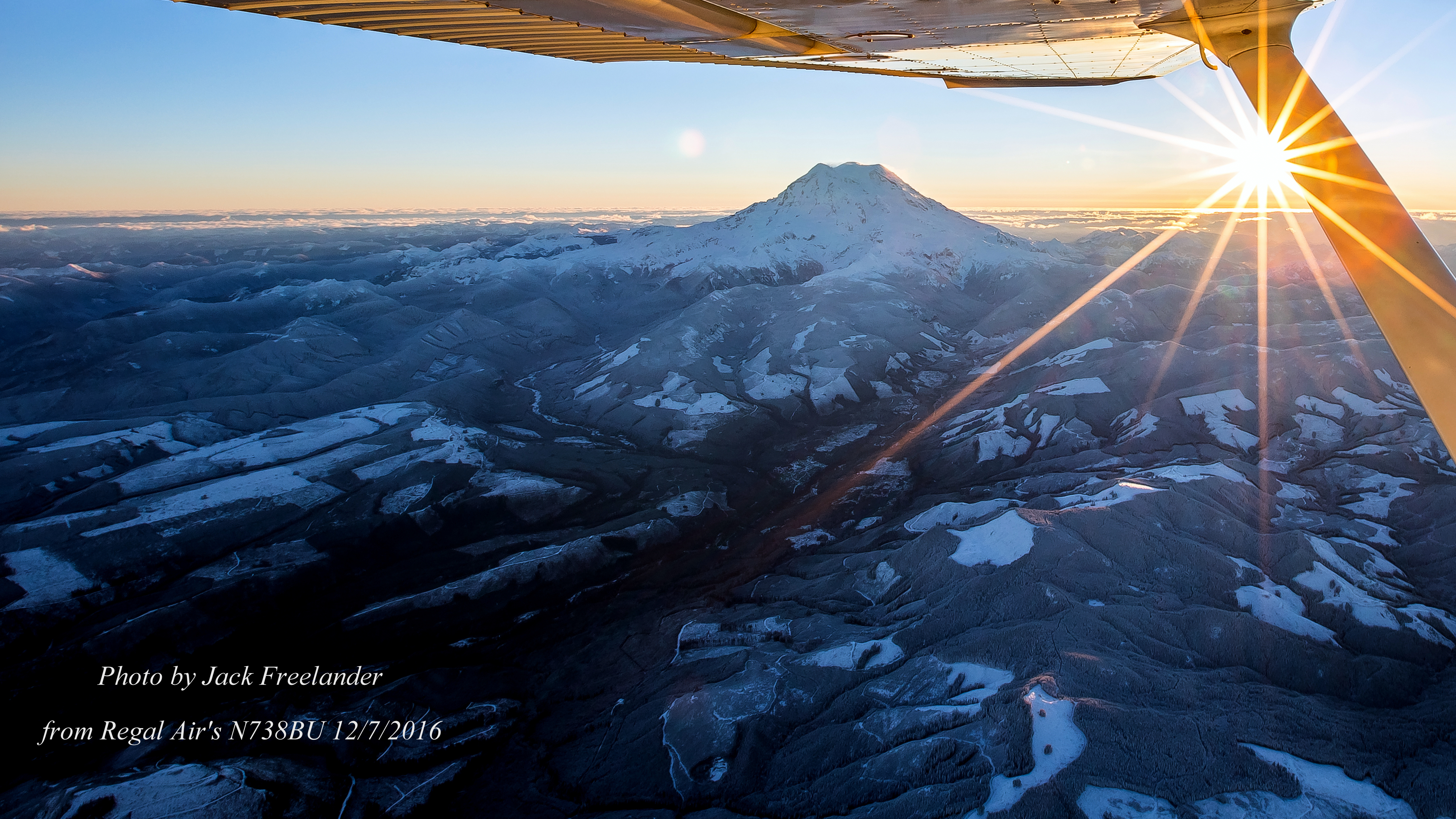 Sunrise Behind Mount Rainier